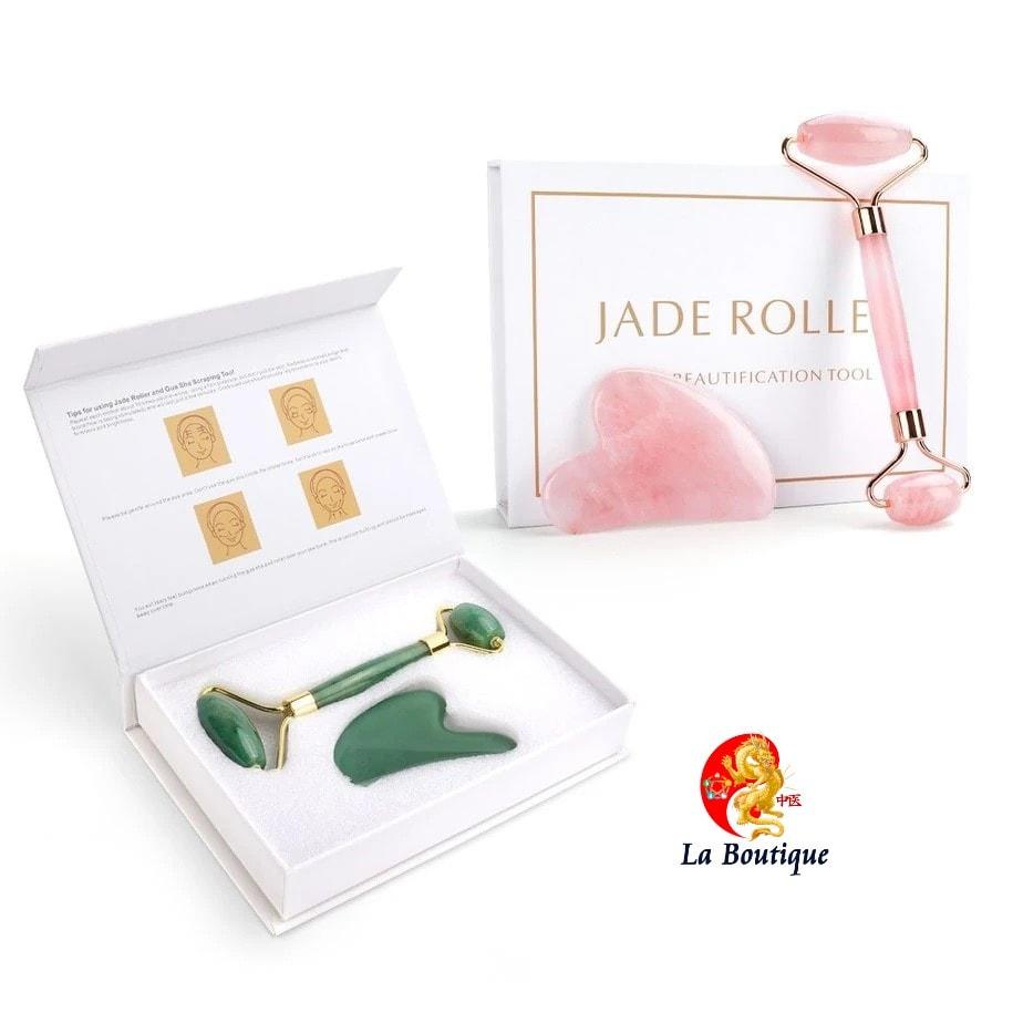 Naturel Rose Quartz Jade rouleau visage yeux corps masseur rouleau vert Jade pierre Guasha visage levage 4 1